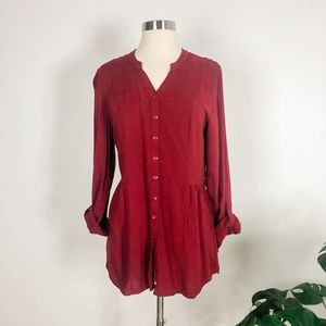 ModCloth button-down relaxed peplum tie-back top